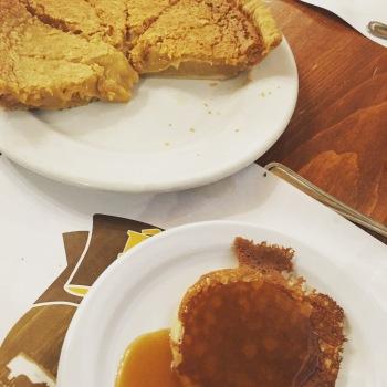 Sugar pie or Tarte au sucre, mini pancakes with Maple coulis