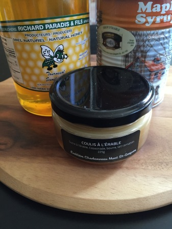 Maple Coulis, Natural Honey, Maple Syrup can, bought at the Sugar shack boutiques