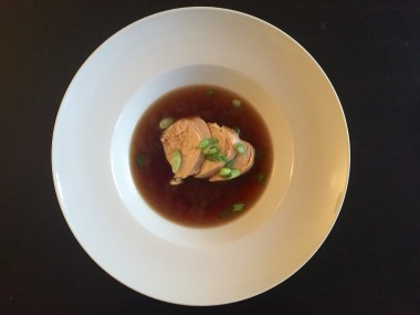 Poached chicken with Shiitake mushroom broth
