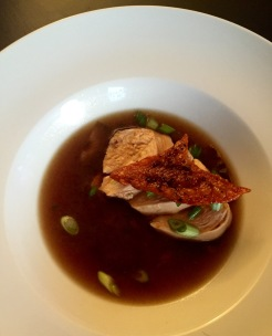 Poached chicken with Shiitake mushroom broth and crispy chicken skin