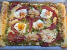 Prosciutto, leek and egg tart