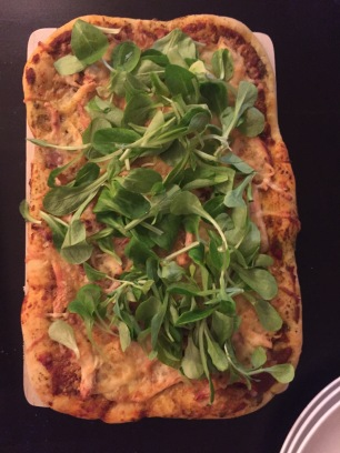Chicken Pizza topped with corn salad or Mâche