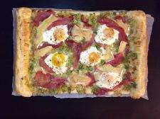 Prosciutto, leek and egg tart