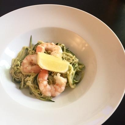 Zucchini pasta with Shrimp and vodka