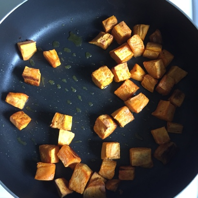 Toasting sweet potatoes, beforehand roasted in the oven