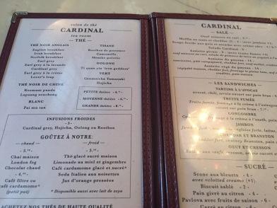 The menu.