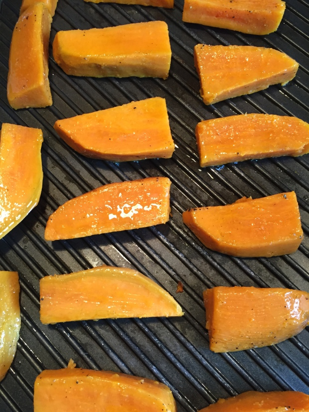 Grilled sweet potatoes with honey mustard dipping sauce