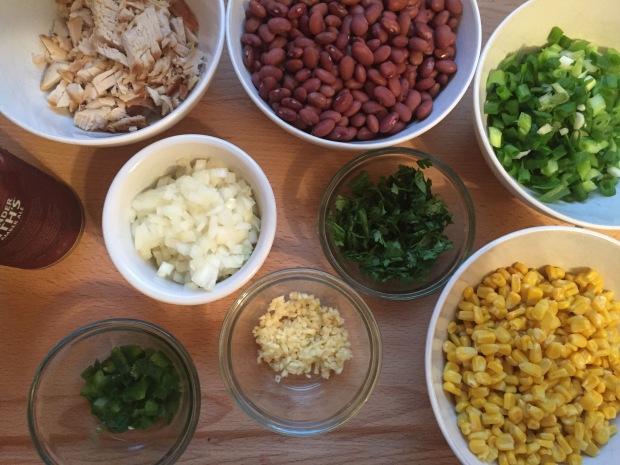 Bean, corn and chicken tortilla layers cake
