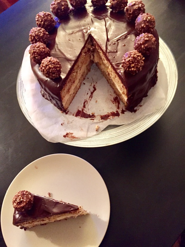 Hazelnut cake with chocolate ganache